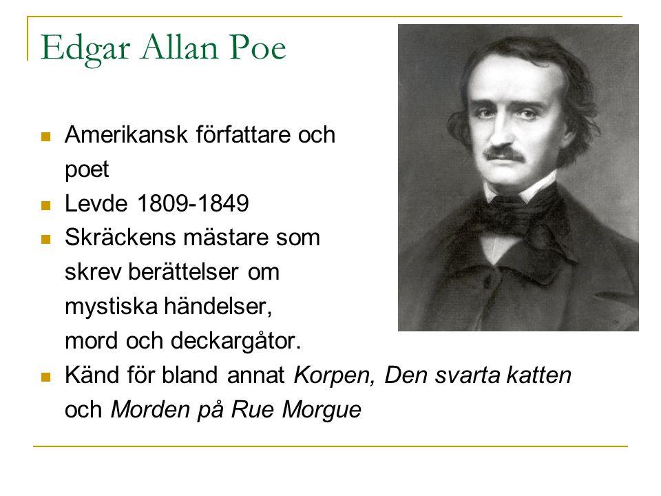 Edgar Allan Poe  Amerikansk författare och poet  Levde 1809-1849  Skräckens mästare som skrev berättelser om mystiska händelser, mord och deckargåt