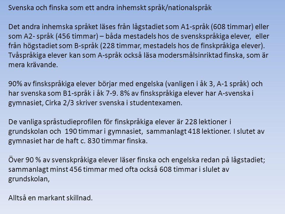 Svenska och finska som ett andra inhemskt språk/nationalspråk Det andra inhemska språket läses från lågstadiet som A1-språk (608 timmar) eller som A2-