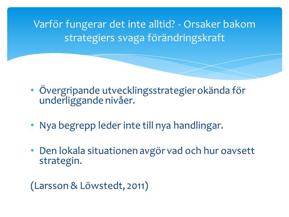• Övergripande utvecklingsstrategier okända för underliggande nivåer. • Nya begrepp leder inte till nya handlingar. • Den lokala situationen avgör vad