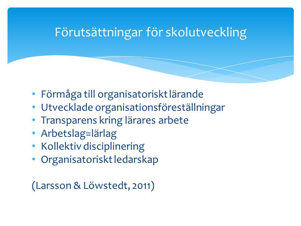 • Förmåga till organisatoriskt lärande • Utvecklade organisationsföreställningar • Transparens kring lärares arbete • Arbetslag=lärlag • Kollektiv dis