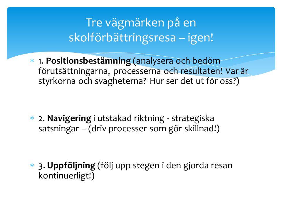  1. Positionsbestämning (analysera och bedöm förutsättningarna, processerna och resultaten! Var är styrkorna och svagheterna? Hur ser det ut för oss?