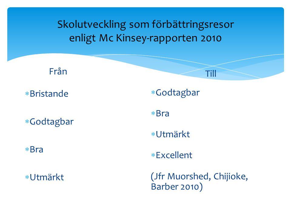 Skolutveckling som förbättringsresor enligt Mc Kinsey-rapporten 2010 Från  Bristande  Godtagbar  Bra  Utmärkt Till  Godtagbar  Bra  Utmärkt  E