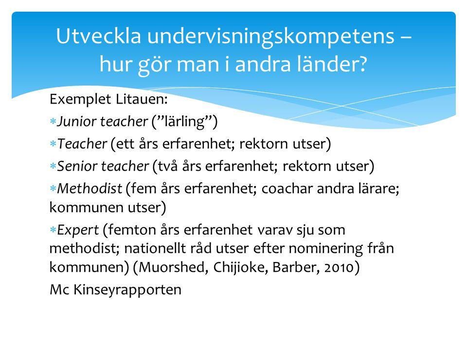 "Exemplet Litauen:  Junior teacher (""lärling"")  Teacher (ett års erfarenhet; rektorn utser)  Senior teacher (två års erfarenhet; rektorn utser)  Me"