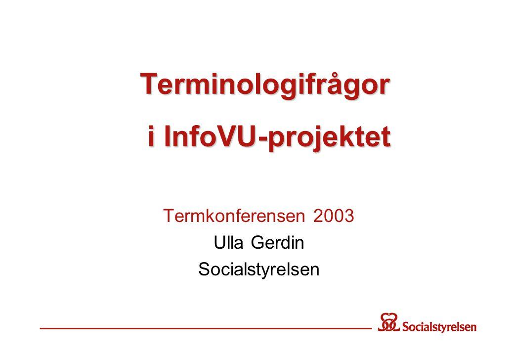 Terminologifrågor i InfoVU-projektet Termkonferensen 2003 Ulla Gerdin Socialstyrelsen