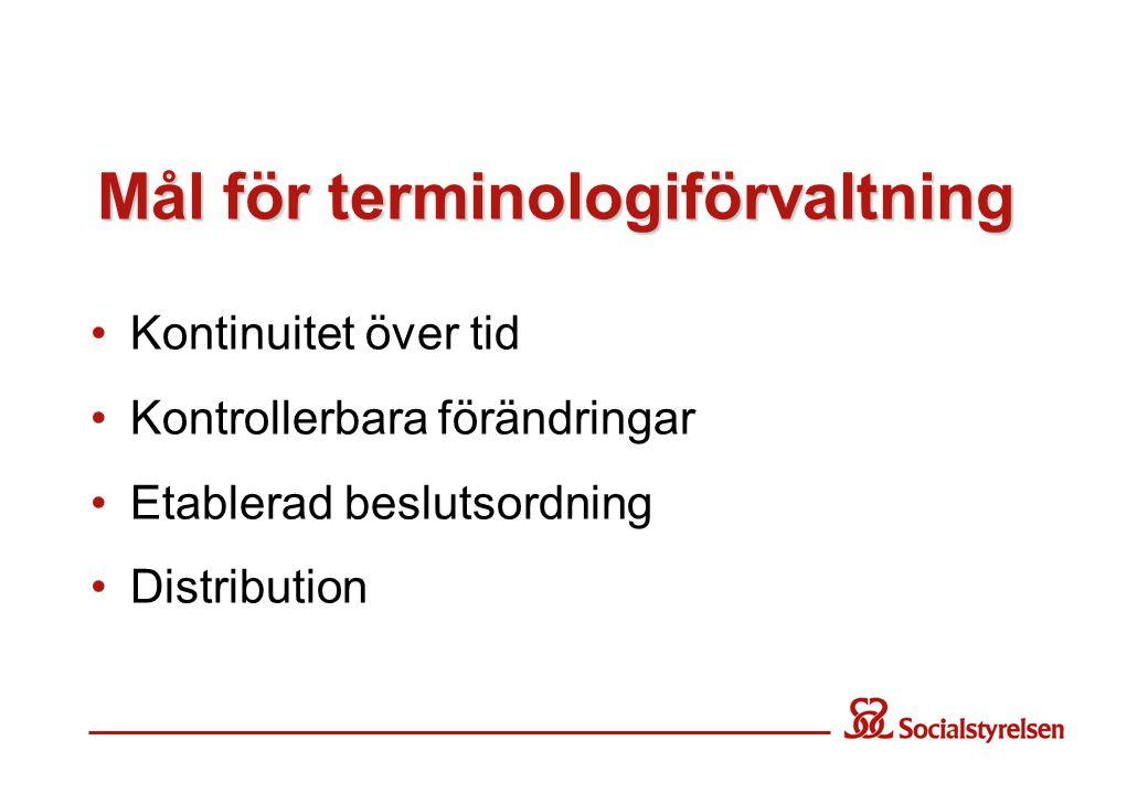 Mål för terminologiförvaltning •Kontinuitet över tid •Kontrollerbara förändringar •Etablerad beslutsordning •Distribution