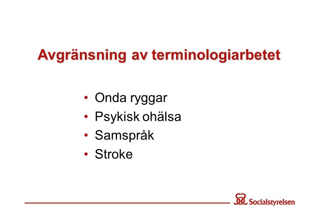 Avgränsning av terminologiarbetet •Onda ryggar •Psykisk ohälsa •Samspråk •Stroke