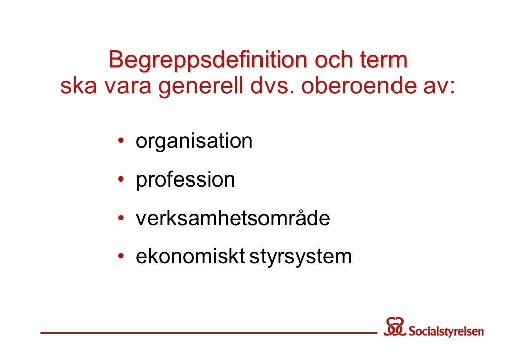 Begreppsdefinition och term Begreppsdefinition och term ska vara generell dvs.