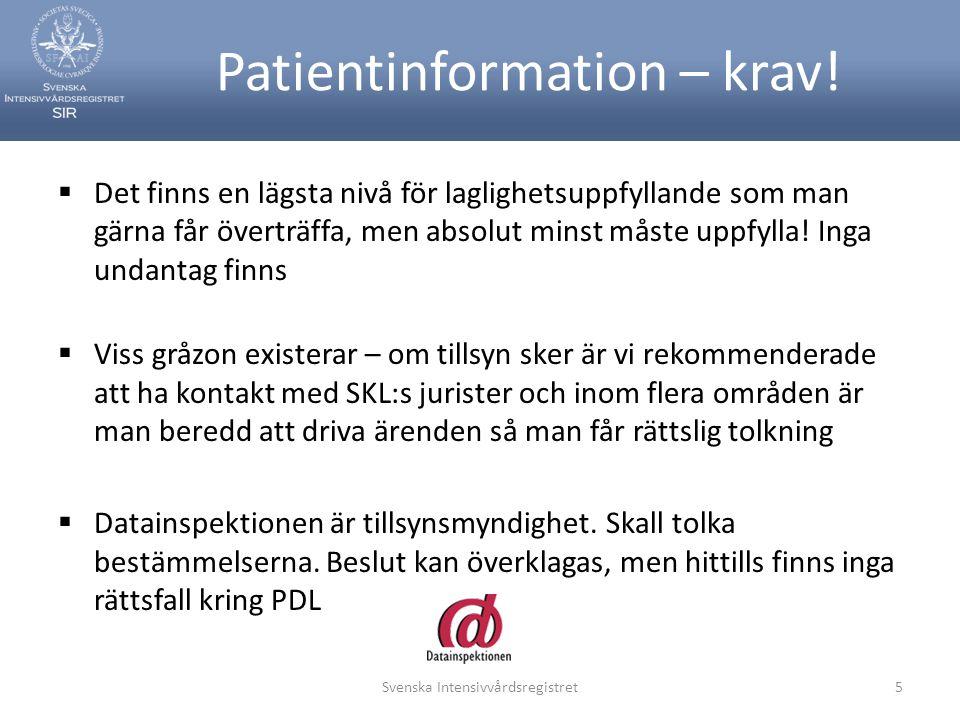 Patientinformation – krav.