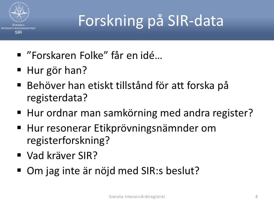 Forskning på SIR-data  Forskaren Folke får en idé…  Hur gör han.