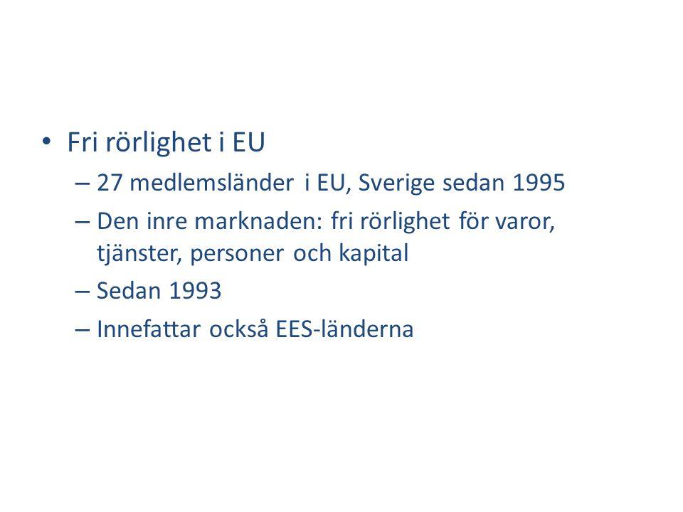 • Fri rörlighet i EU – 27 medlemsländer i EU, Sverige sedan 1995 – Den inre marknaden: fri rörlighet för varor, tjänster, personer och kapital – Sedan 1993 – Innefattar också EES-länderna