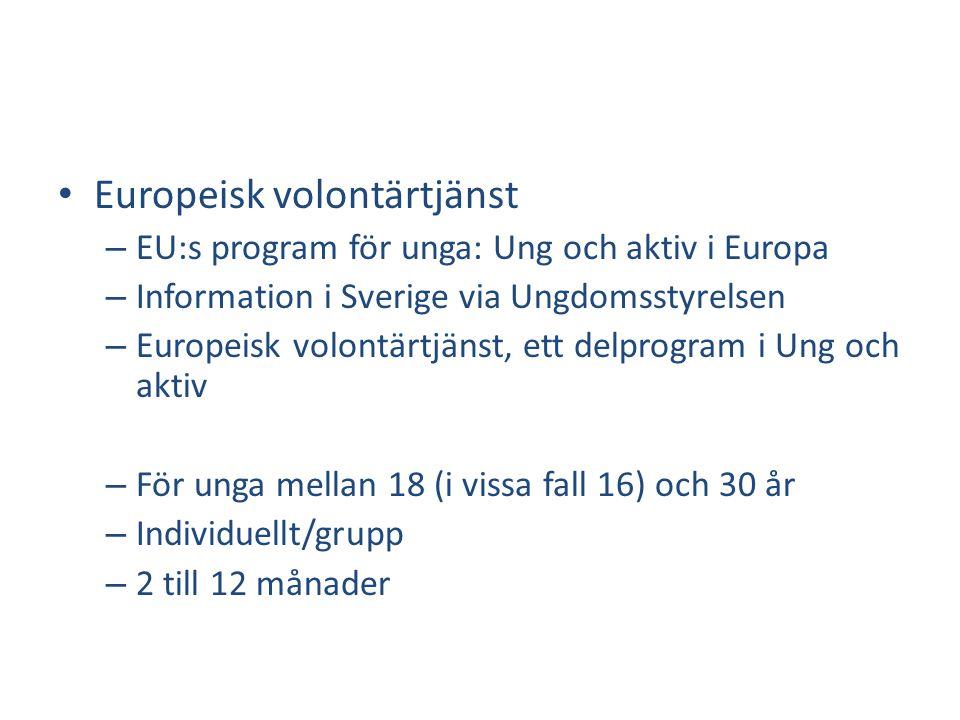 • Europeisk volontärtjänst – EU:s program för unga: Ung och aktiv i Europa – Information i Sverige via Ungdomsstyrelsen – Europeisk volontärtjänst, ett delprogram i Ung och aktiv – För unga mellan 18 (i vissa fall 16) och 30 år – Individuellt/grupp – 2 till 12 månader