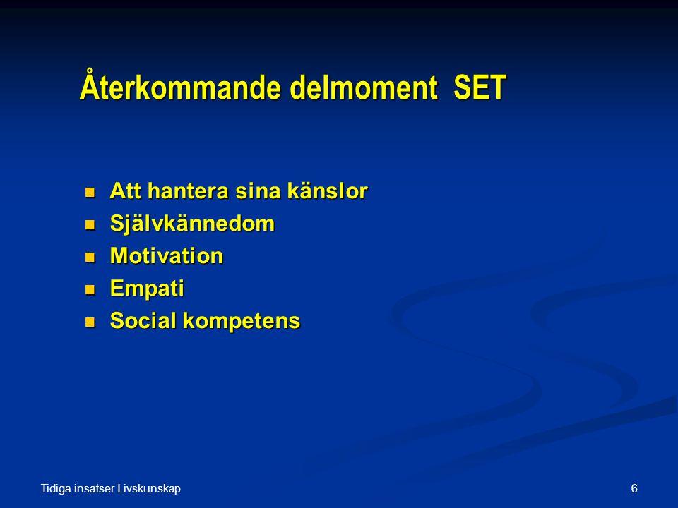 Tidiga insatser Hälsosamtal 17 Du bestämmer En metod för hälsovägledning Elisabeth Arborelius 1988