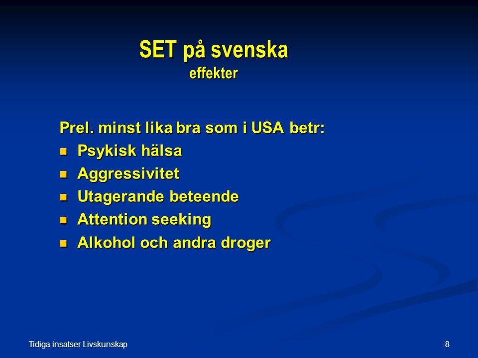 Tidiga insatser Livskunskap 8 SET på svenska effekter Prel. minst lika bra som i USA betr:  Psykisk hälsa  Aggressivitet  Utagerande beteende  Att
