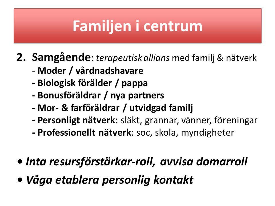 Familjen i centrum 2.Samgående : terapeutisk allians med familj & nätverk - Moder / vårdnadshavare - Biologisk förälder / pappa - Bonusföräldrar / nya