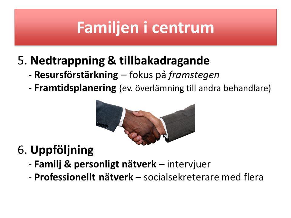 • Välutbildad personal - Ekosystemiskt strukturellt tänkande integrerat med - verksamma verktyg • Kontinuerlig konsultation / fortbildning för fördjupad kompetens • Förankring i organisation & ledning - Familjefokuserade rutiner - Familjefokuserade formulär – komplement till BBIC Förutsättningar för framgångsrikt familjearbete