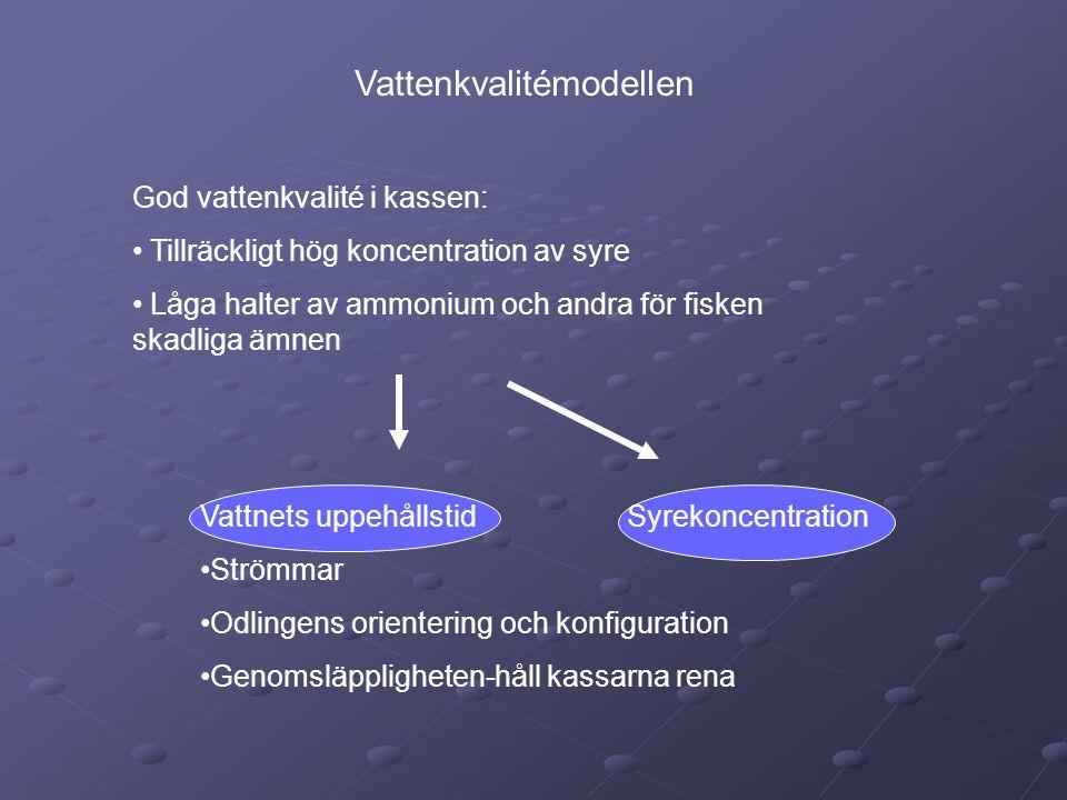 Indata: •Strömhastighet – min •Odlingens genomsläpplighet •Minsta syrekoncentration i kassarna •Högsta tillåtna ammoniumhalt Ut ur modellen: Totala produktionen av fisk med bibehållen vattenkvalité: TPF O 2 =(O 2in -O 2min )L F DP F U min / DO 2 TPF NH 4 =(NH 4in -NH 4min )L F DP F U min / DNH 4