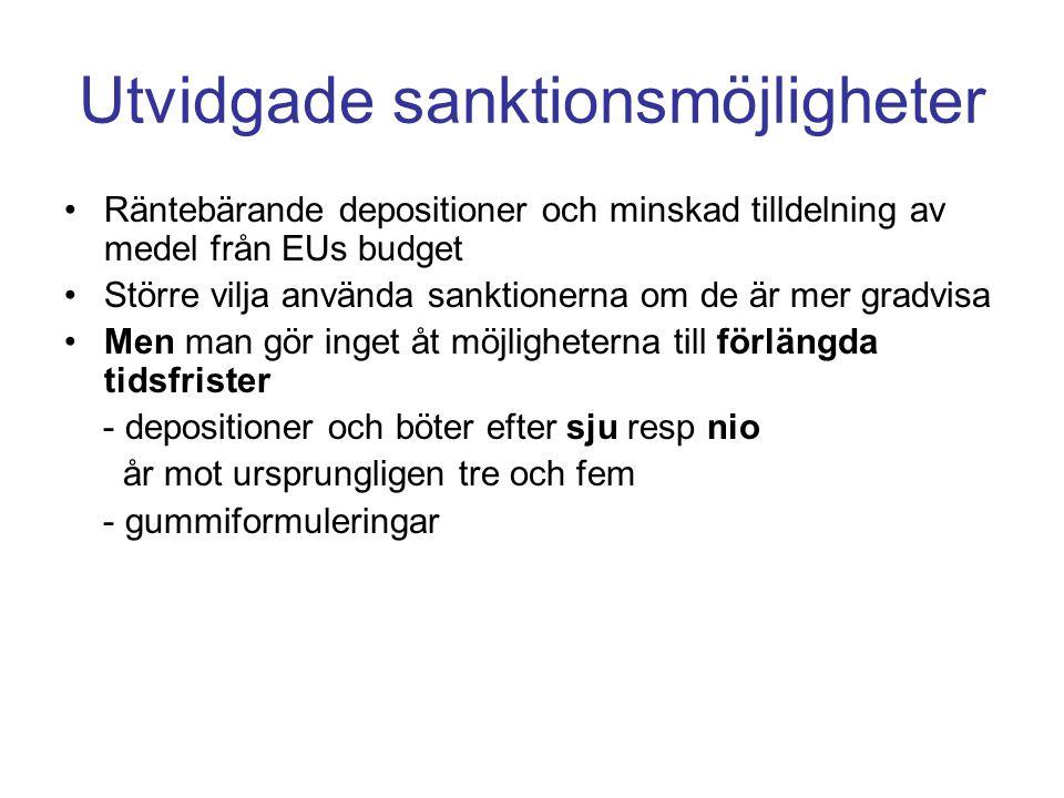 Utvidgade sanktionsmöjligheter •Räntebärande depositioner och minskad tilldelning av medel från EUs budget •Större vilja använda sanktionerna om de är mer gradvisa •Men man gör inget åt möjligheterna till förlängda tidsfrister - depositioner och böter efter sju resp nio år mot ursprungligen tre och fem - gummiformuleringar