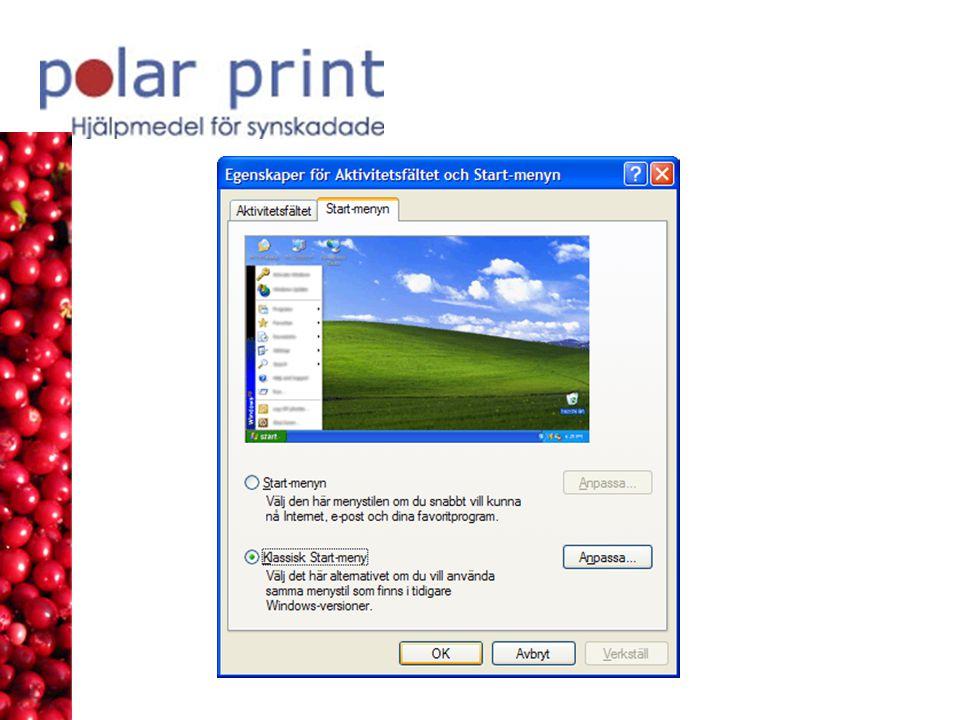 Anpassa Verktygsfältet Standard och Formatering Gå till Verktygsmenyn och välj Anpassa och fliken Alternativ.