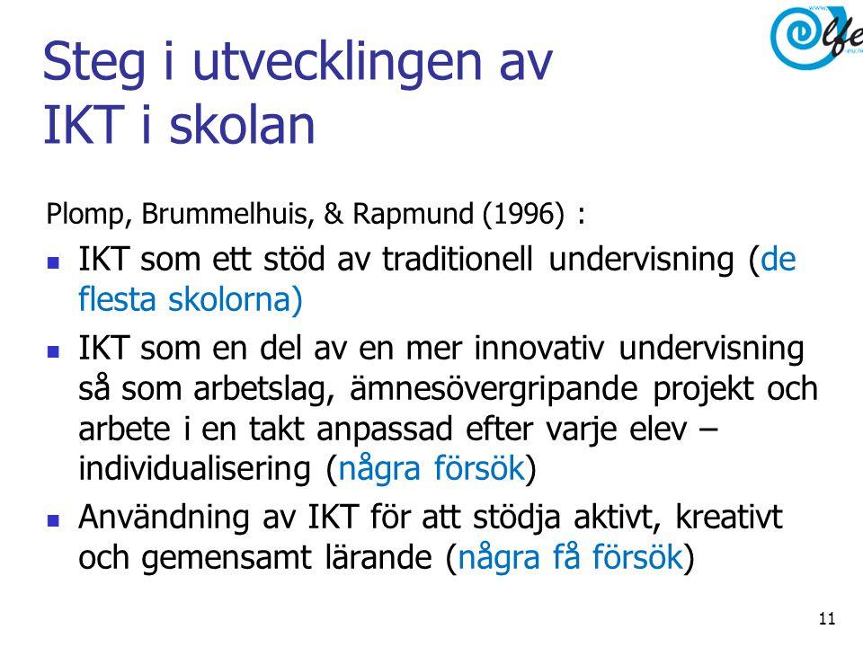 Steg i utvecklingen av IKT i skolan Plomp, Brummelhuis, & Rapmund (1996) :  IKT som ett stöd av traditionell undervisning (de flesta skolorna)  IKT som en del av en mer innovativ undervisning så som arbetslag, ämnesövergripande projekt och arbete i en takt anpassad efter varje elev – individualisering (några försök)  Användning av IKT för att stödja aktivt, kreativt och gemensamt lärande (några få försök) 11