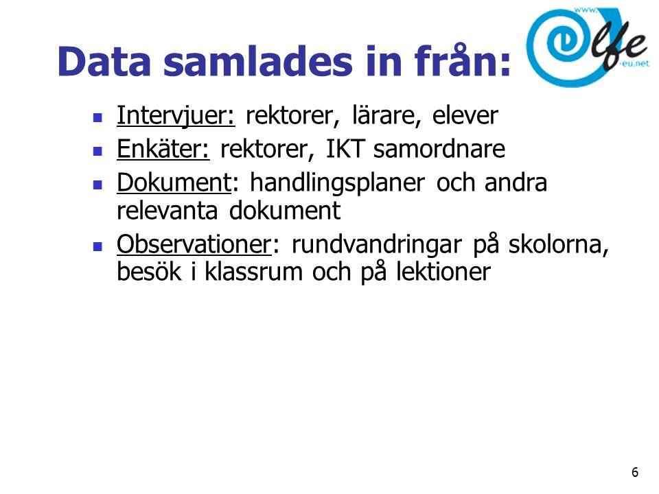 Data samlades in från:  Intervjuer: rektorer, lärare, elever  Enkäter: rektorer, IKT samordnare  Dokument: handlingsplaner och andra relevanta doku