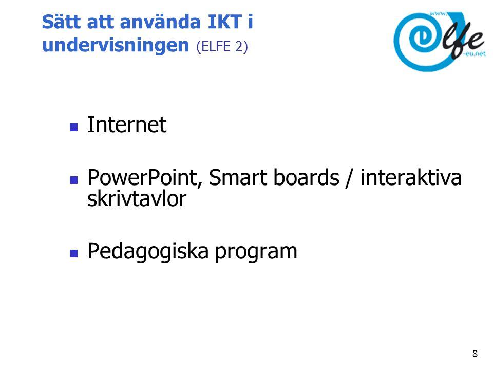 Sätt att använda IKT i undervisningen (ELFE 2)  Internet  PowerPoint, Smart boards / interaktiva skrivtavlor  Pedagogiska program 8