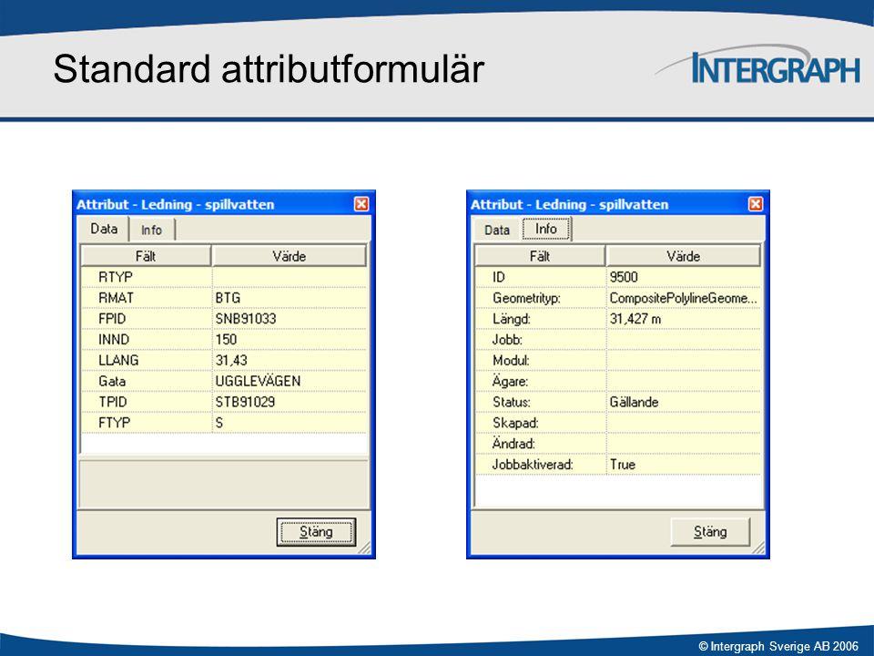 © Intergraph Sverige AB 2006 Standard attributformulär