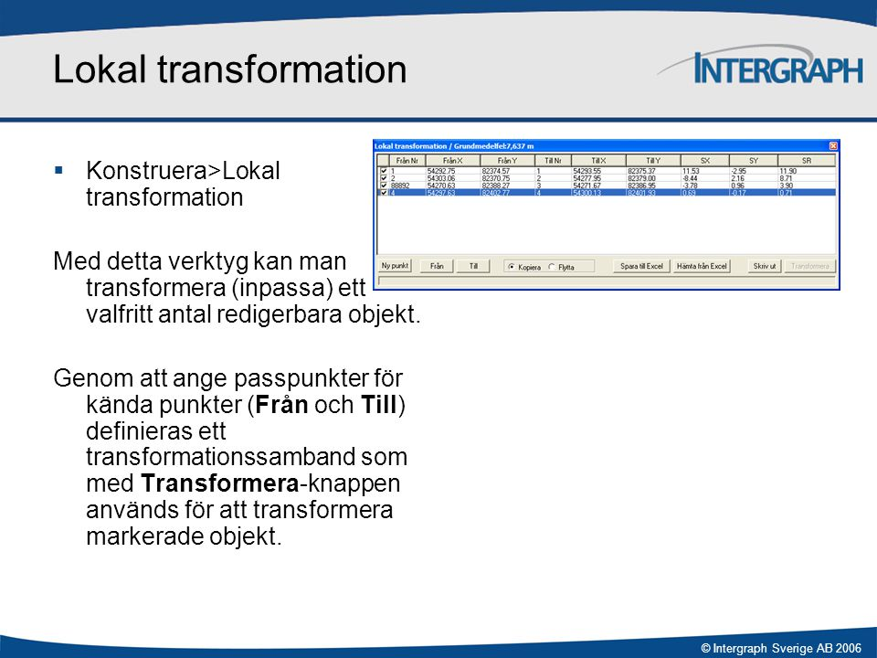 © Intergraph Sverige AB 2006 Lokal transformation  Konstruera>Lokal transformation Med detta verktyg kan man transformera (inpassa) ett valfritt anta