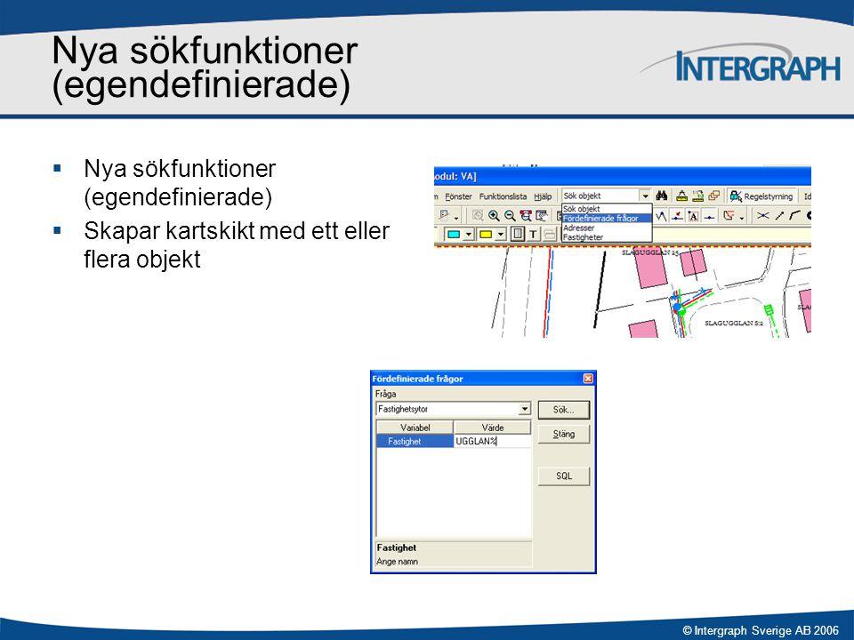 © Intergraph Sverige AB 2006 Nya sökfunktioner (egendefinierade)  Nya sökfunktioner (egendefinierade)  Skapar kartskikt med ett eller flera objekt