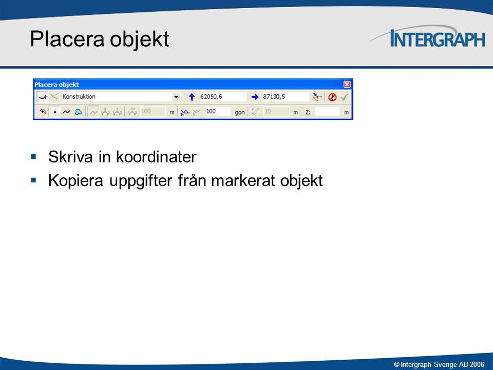 © Intergraph Sverige AB 2006 Placera objekt  Skriva in koordinater  Kopiera uppgifter från markerat objekt