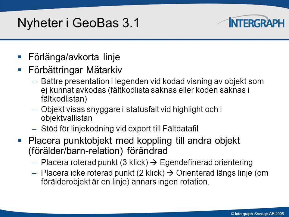 © Intergraph Sverige AB 2006 Nyheter i GeoBas 3.1  Förlänga/avkorta linje  Förbättringar Mätarkiv –Bättre presentation i legenden vid kodad visning