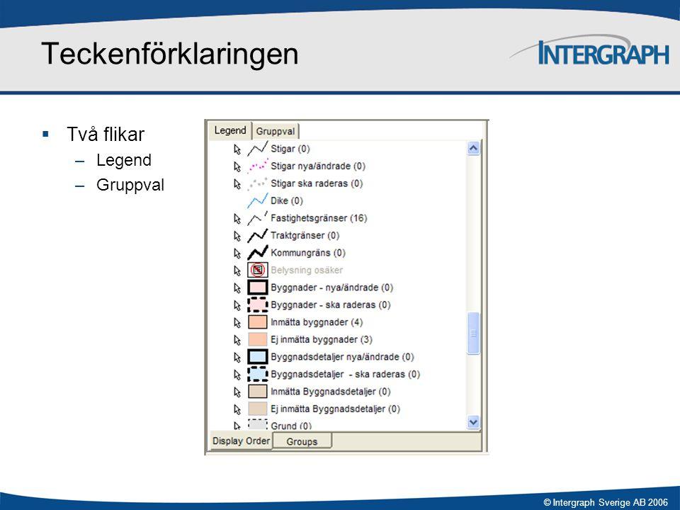 © Intergraph Sverige AB 2006 Fliken Legend  Motsvarar GeoMedias Legend  Två flikar nertill –Display order –Groups
