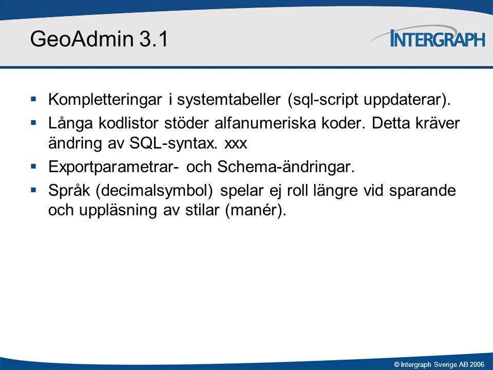 © Intergraph Sverige AB 2006 GeoAdmin 3.1  Kompletteringar i systemtabeller (sql-script uppdaterar).  Långa kodlistor stöder alfanumeriska koder. De