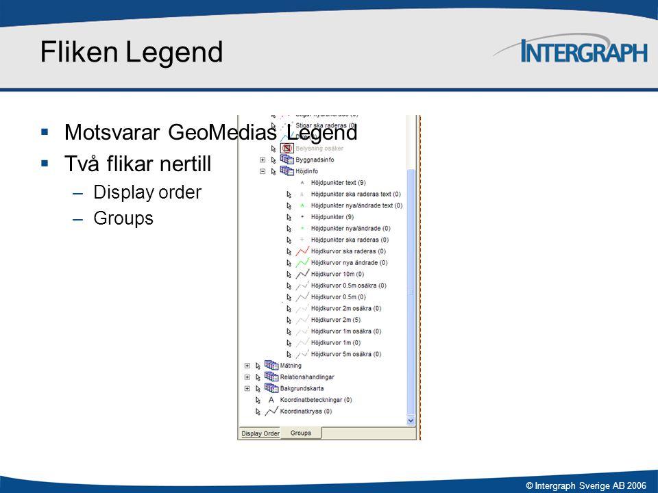 © Intergraph Sverige AB 2006 Fliken Gruppval  Special för GeoBas  Fördefinierade grupper (görs i GeoBas Admin)  Släcka/tända, lokaliserbarhet av/på  Ett kartskikt kan förekomma i flera grupper