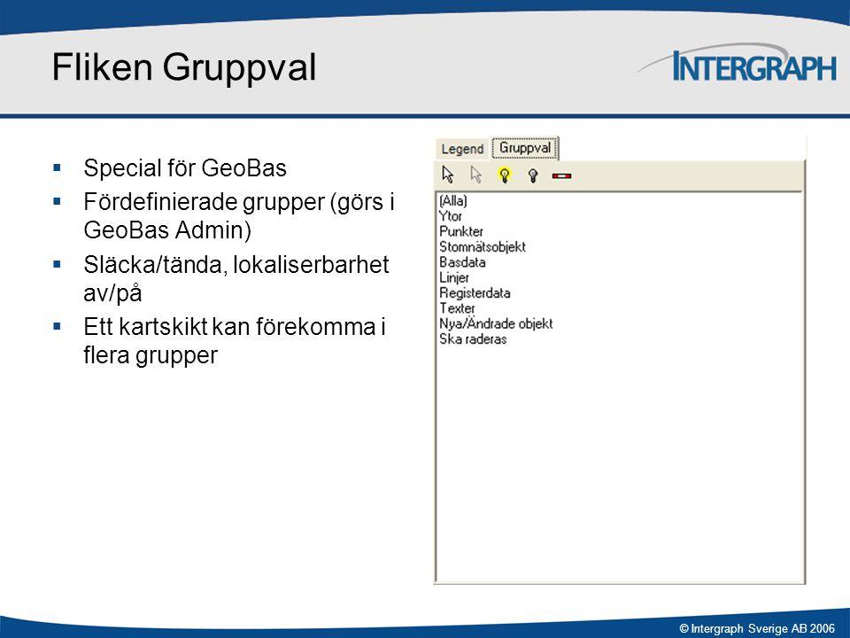 © Intergraph Sverige AB 2006 Fliken Gruppval  Special för GeoBas  Fördefinierade grupper (görs i GeoBas Admin)  Släcka/tända, lokaliserbarhet av/på