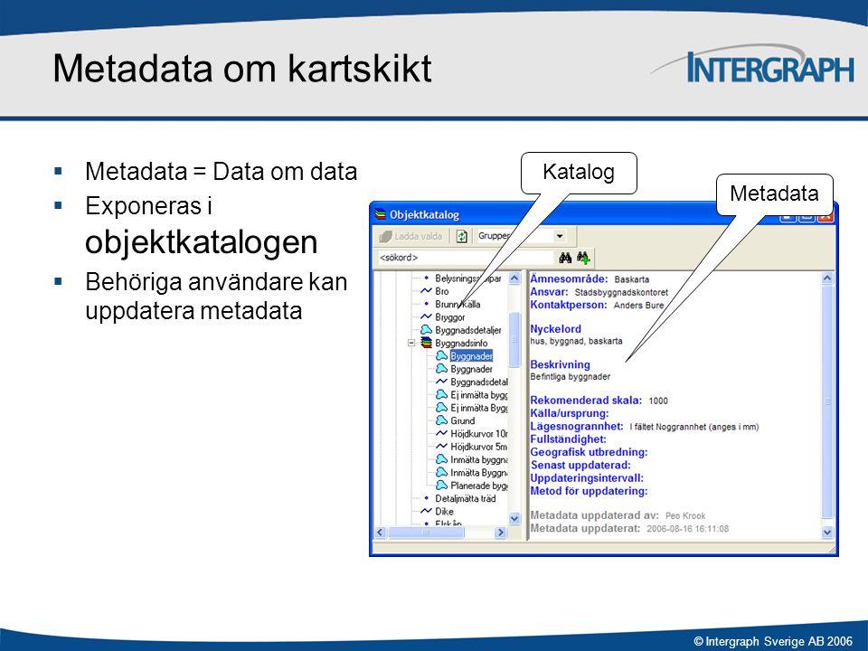© Intergraph Sverige AB 2006 Metadata om kartskikt  Metadata = Data om data  Exponeras i objektkatalogen  Behöriga användare kan uppdatera metadata