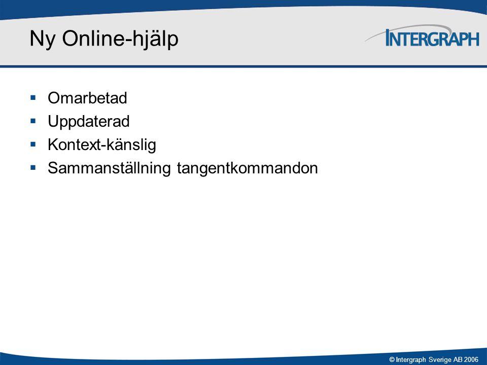 © Intergraph Sverige AB 2006 Ny Online-hjälp  Omarbetad  Uppdaterad  Kontext-känslig  Sammanställning tangentkommandon