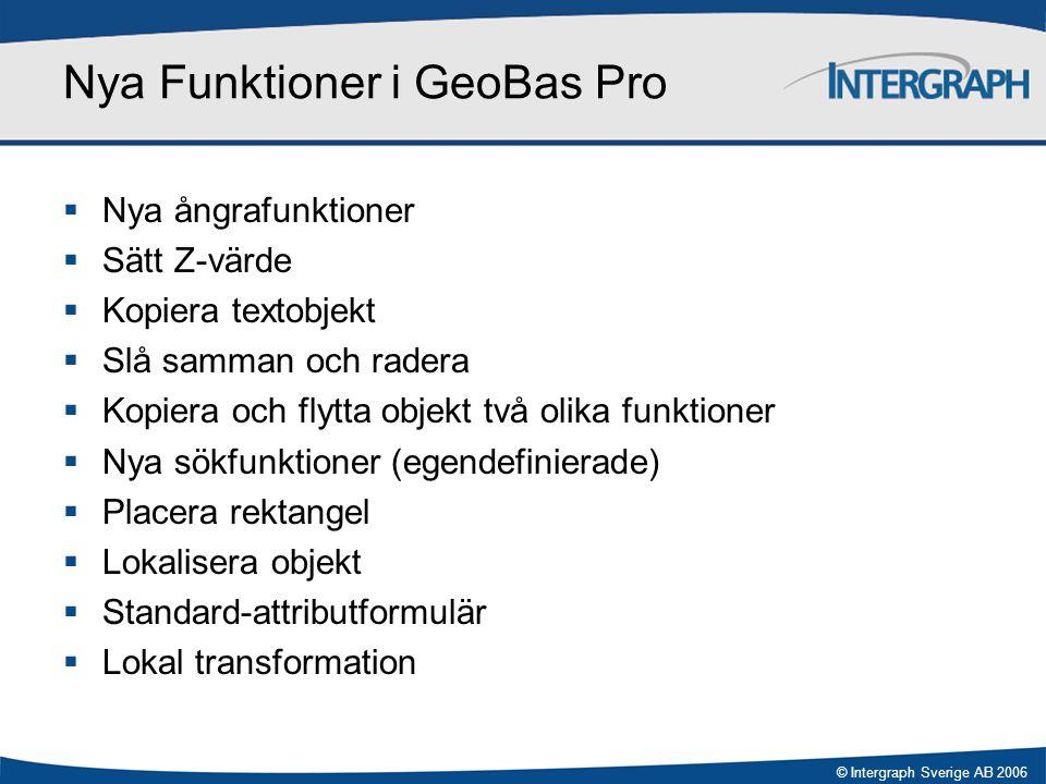 © Intergraph Sverige AB 2006 Nyheter i GeoBas 3.1  Ändringar i menyer.