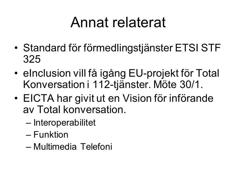 Annat relaterat •Standard för förmedlingstjänster ETSI STF 325 •eInclusion vill få igång EU-projekt för Total Konversation i 112-tjänster.