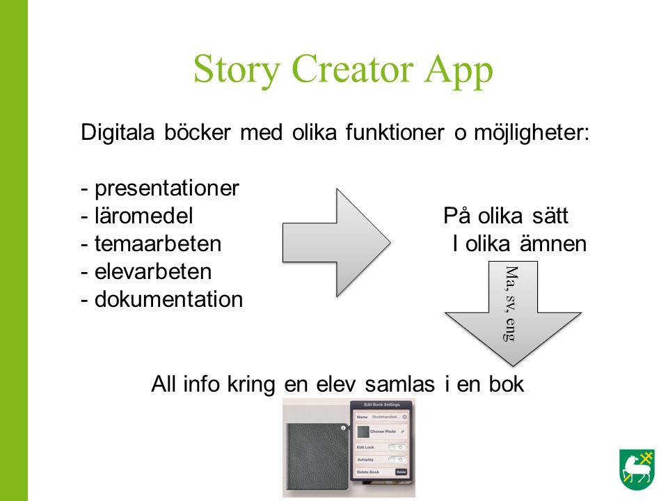 Story Creator App Digitala böcker med olika funktioner o möjligheter: - presentationer - läromedel På olika sätt - temaarbeten I olika ämnen - elevarb