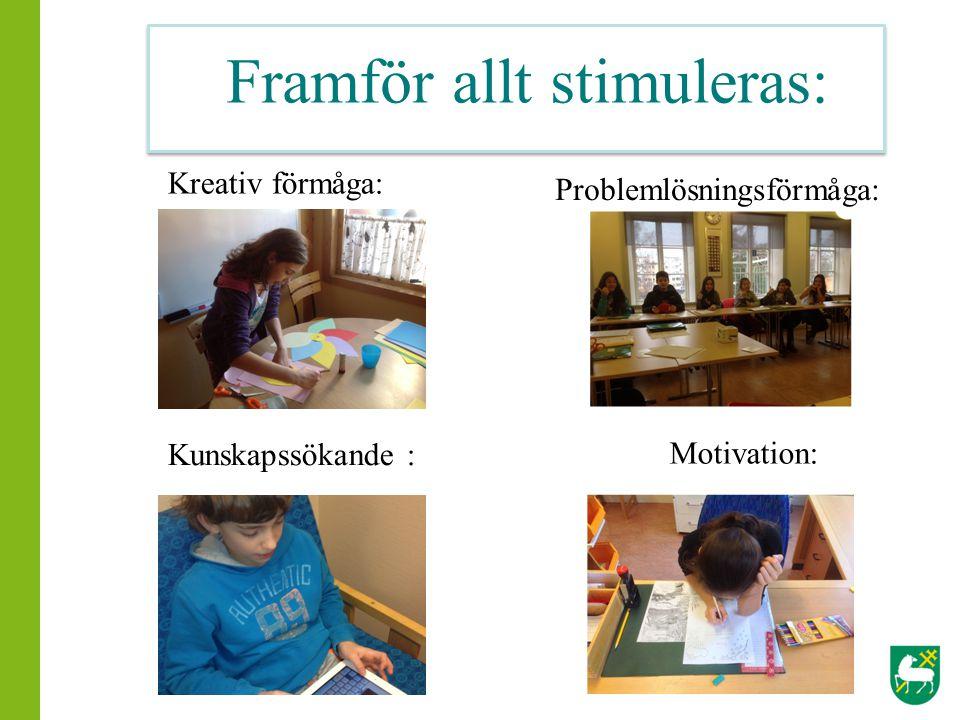 Kreativ förmåga: Motivation: Problemlösningsförmåga: Kunskapssökande : Framför allt stimuleras: