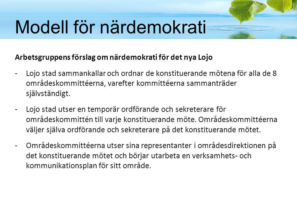 Arbetsgruppens förslag om närdemokrati för det nya Lojo -Lojo stad sammankallar och ordnar de konstituerande mötena för alla de 8 områdeskommittéerna,