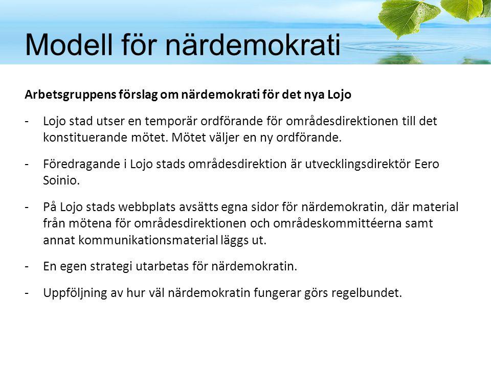 Modell för närdemokrati Arbetsgruppens förslag om närdemokrati för det nya Lojo -Lojo stad utser en temporär ordförande för områdesdirektionen till de