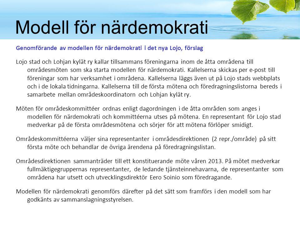 Modell för närdemokrati Genomförande av modellen för närdemokrati i det nya Lojo, förslag Lojo stad och Lohjan kylät ry kallar tillsammans föreningarna inom de åtta områdena till områdesmöten som ska starta modellen för närdemokrati.