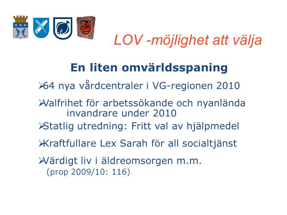 Klicka här för att ändra format LOV att välja Klicka här för att ändra format LOV att välja LOV-kommuner i Västra Götaland •Borås – hemtjänst + daglig verksamhet LSS •Kungälv – hemtjänst •Uddevalla – hemtjänst •Stenungsund – hemtjänst (service) •Åmål – hemtjänst •Bollebygd – hemtjänst •Partille – hemtjänst •Lerum – hemtjänst •Alingsås – hemtjänst •Härryda - hemtjänst
