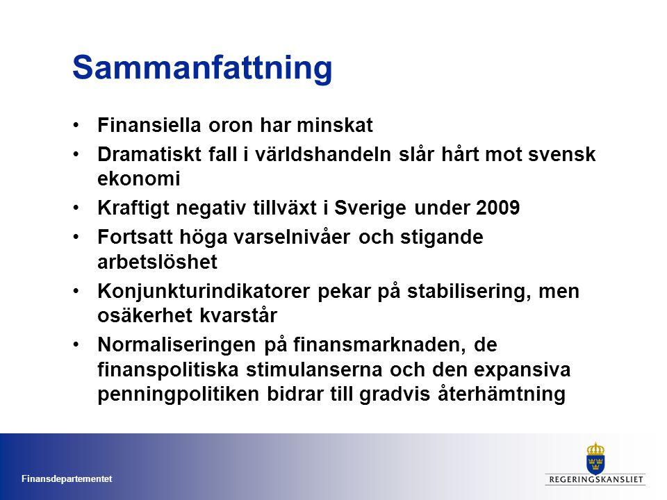 Finansdepartementet Sammanfattning •Finansiella oron har minskat •Dramatiskt fall i världshandeln slår hårt mot svensk ekonomi •Kraftigt negativ tillväxt i Sverige under 2009 •Fortsatt höga varselnivåer och stigande arbetslöshet •Konjunkturindikatorer pekar på stabilisering, men osäkerhet kvarstår •Normaliseringen på finansmarknaden, de finanspolitiska stimulanserna och den expansiva penningpolitiken bidrar till gradvis återhämtning