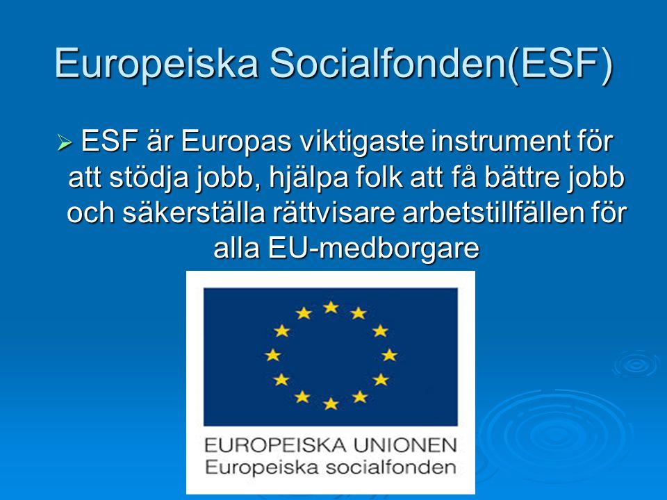 Europeiska Socialfonden(ESF)  ESF är Europas viktigaste instrument för att stödja jobb, hjälpa folk att få bättre jobb och säkerställa rättvisare arb