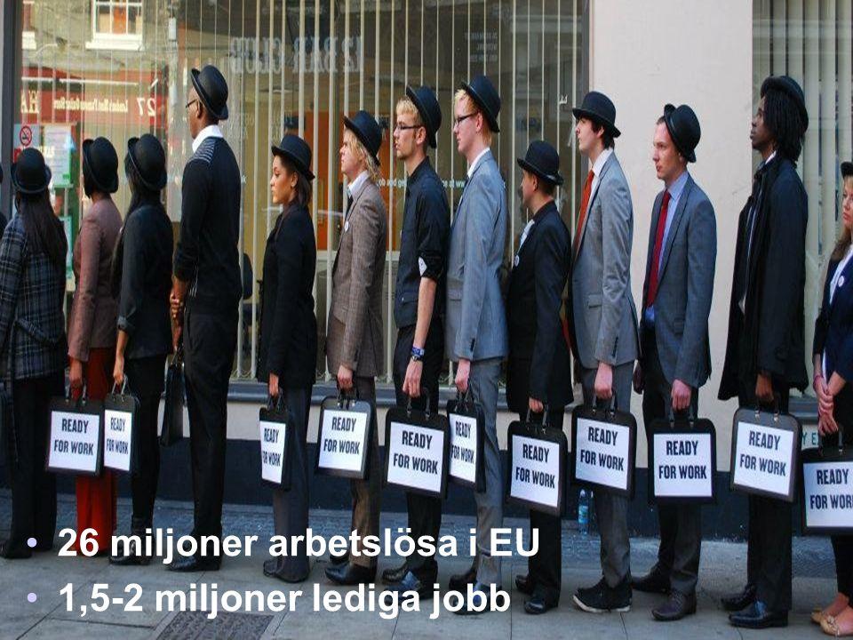 •26 miljoner arbetslösa i EU •1,5-2 miljoner lediga jobb