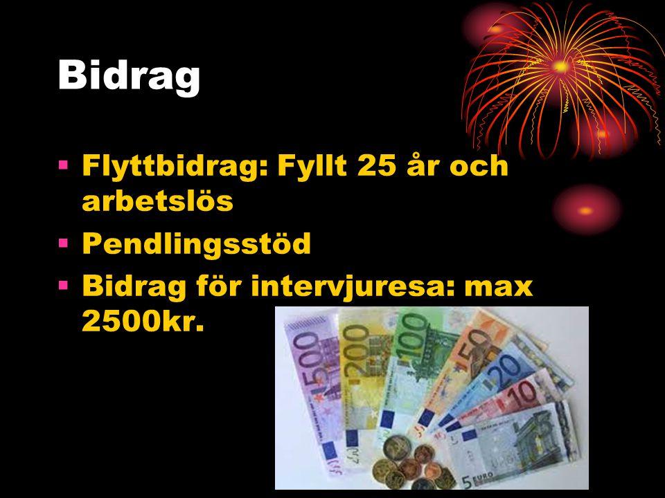 Bidrag  Flyttbidrag: Fyllt 25 år och arbetslös  Pendlingsstöd  Bidrag för intervjuresa: max 2500kr.