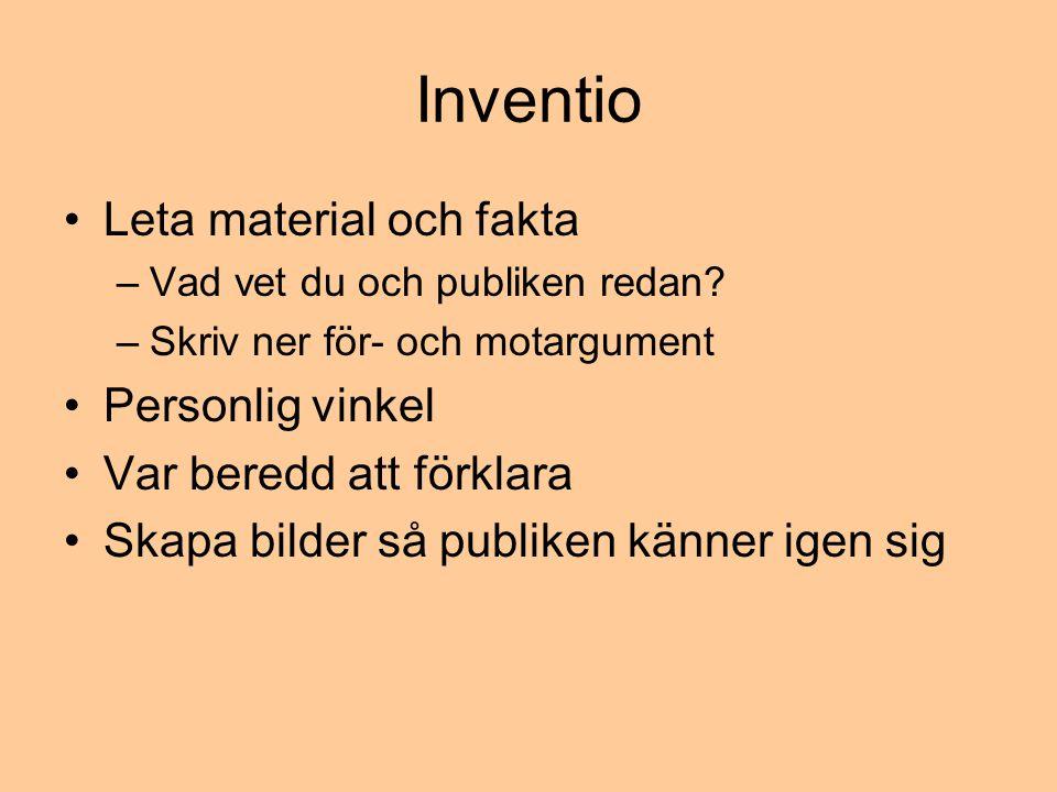 Inventio •Leta material och fakta –Vad vet du och publiken redan.