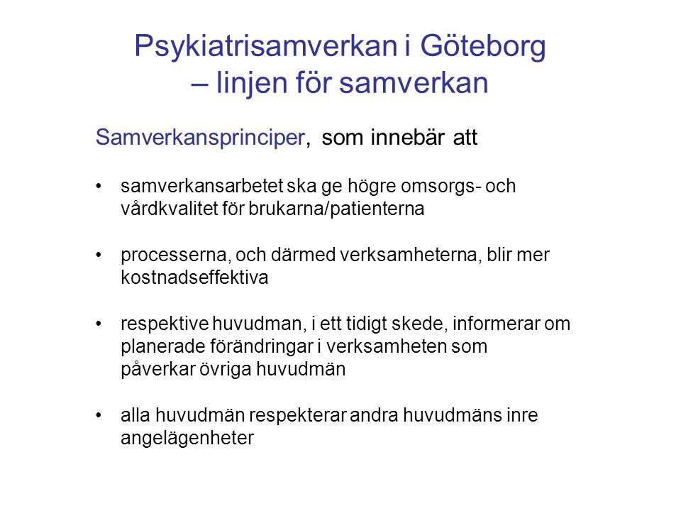 Psykiatrisamverkan i Göteborg – linjen för samverkan Samverkansprinciper, som innebär att •samverkansarbetet ska ge högre omsorgs- och vårdkvalitet fö